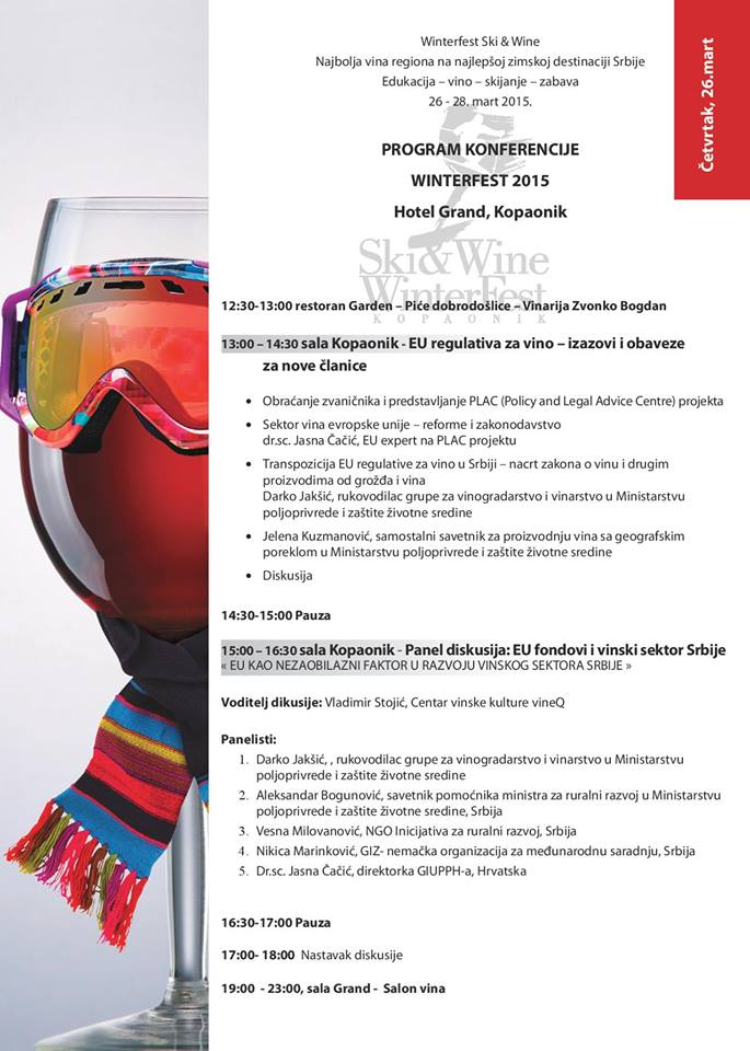 "Program konferencije ""Winterfest Ski & Wine Kopaonik 2015"""